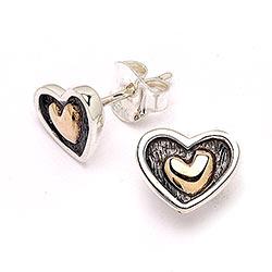 Sterling sølv øreringe med 8 karat guld