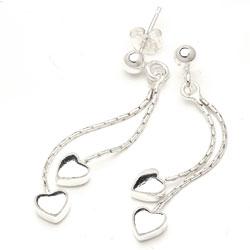 Lange sølv øreringe hjerteformet
