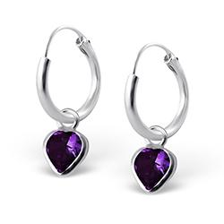 Hjerte øreringe i sølv