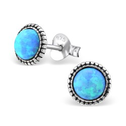 Runde blå øreringe i sølv