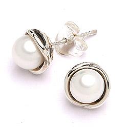 Sølv øreringe med perler