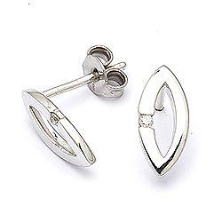 Diamant øreringe i sølv