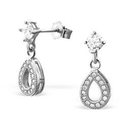 Dråbe øreringe i sølv