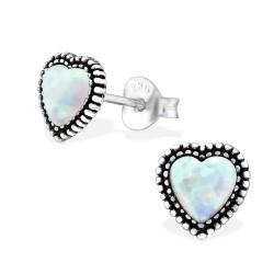 Hjerte øreringe i sterling sølv