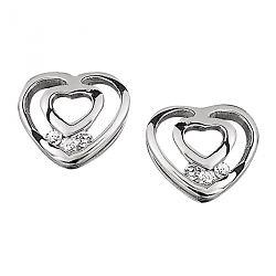 Hjerte øreringe i sølv med hvid diamant