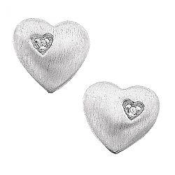 Øreringe med hvid diamant - hjerte