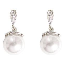 Øreringe i rhodineret sølv med perler