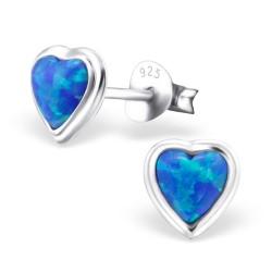 Ørestikker i sølv med blå opal