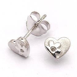 Ørestikker sølv med diamant