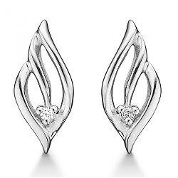 Sølv hjerte øreringe med diamanter