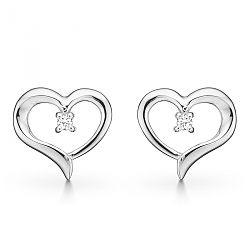 Støvring design hjerte øreringe med diamant
